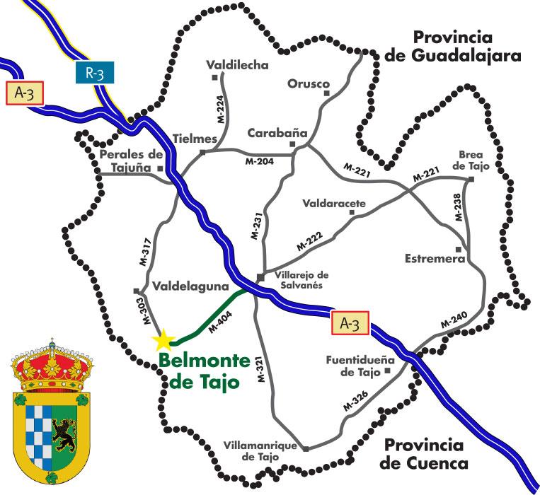 mapa de carreteras como llegar a Belmonte de Tajo