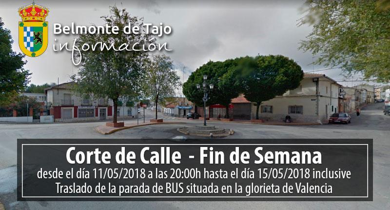 Corte de Calle Belmonte de Tajo – Fin de Semana